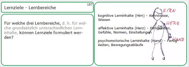 Lernkarten-Muster, Nummer 187: Lernbereiche