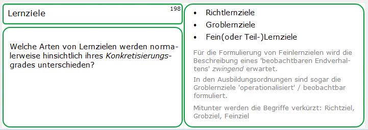 Lernkarten-Muster, Nummer 198: Arten von Lernzielen