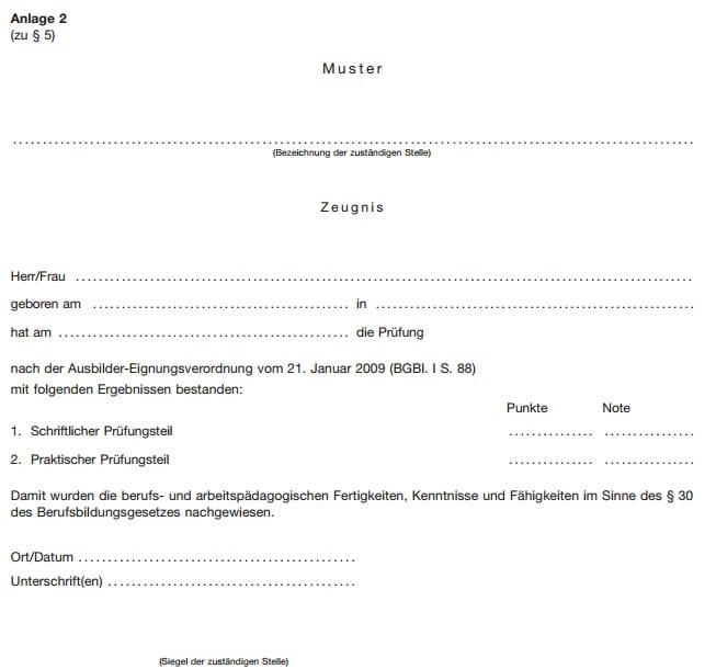 Anlage 2 zur AEVO, AdA-Schein