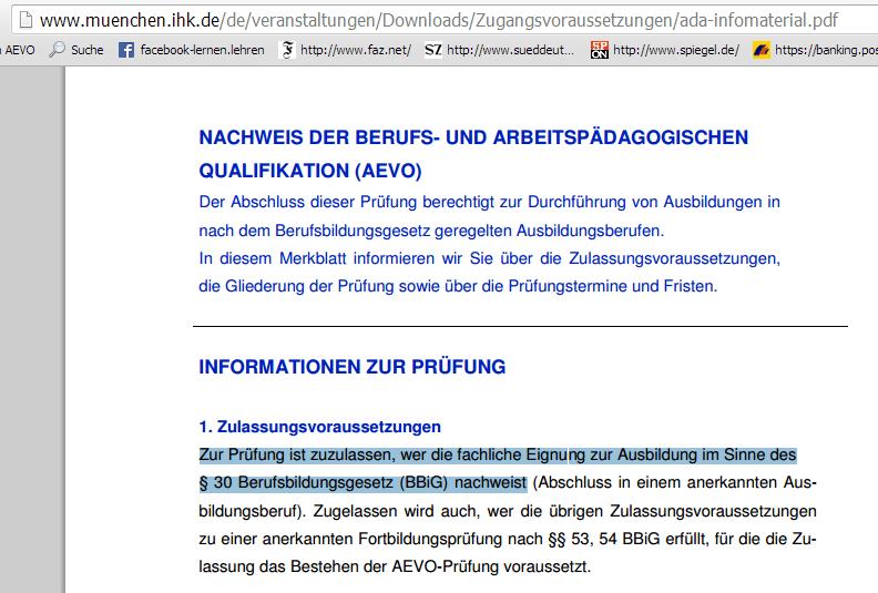 Ausbildereignungsprüfung IHK München