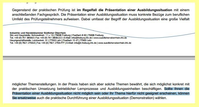 Ausbildereignungsprüfung IHK Freiburg: Auszug aus IHK-Info