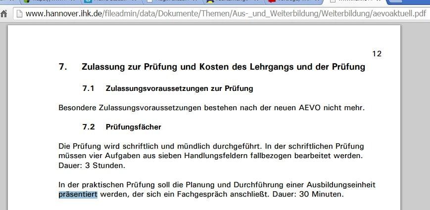 IHK Hannover: Ausbildereignungsprüfung - Präsentation