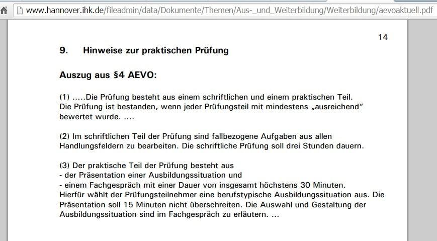 IHK Hannover: Ausbildereignungsprüfung - Durchführung einer Ausbildungssituation (Unterweisung)