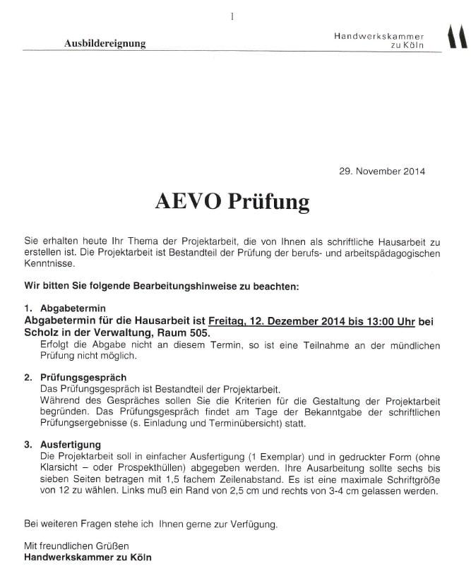 Aevo Praktischer Prufungsteil Durchfuhrung Einer 12