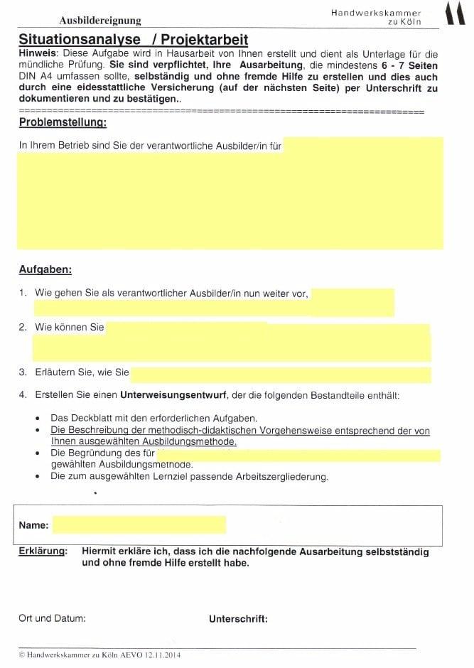 widerrechtliche Aufgabenstellung der HwK Köln zum praktischen Prüfungsteil / Ausbildereignungsprüfung