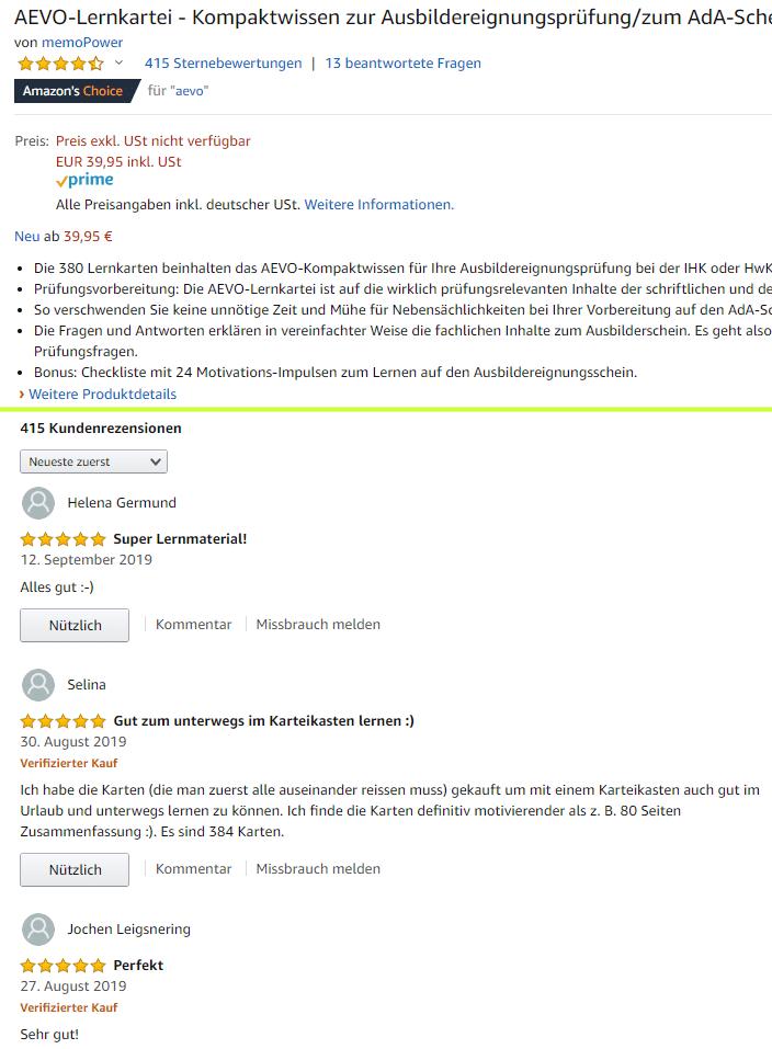 Screenshot von mehreren Kunden-Feedbacks auf amazon: mehr als 400 begeisterte Kundenbewertungen zu meiner AEVO-Lernkartei auf amazon:
