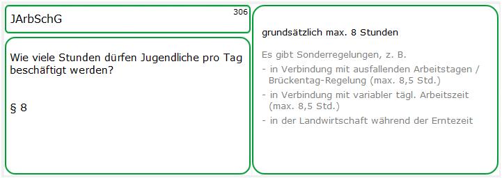 Lernkarten-Muster 306: JArbSchG