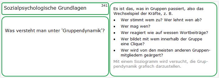 Lernkarte, Frage- und Antwortseite zu 'Gruppendynamik'