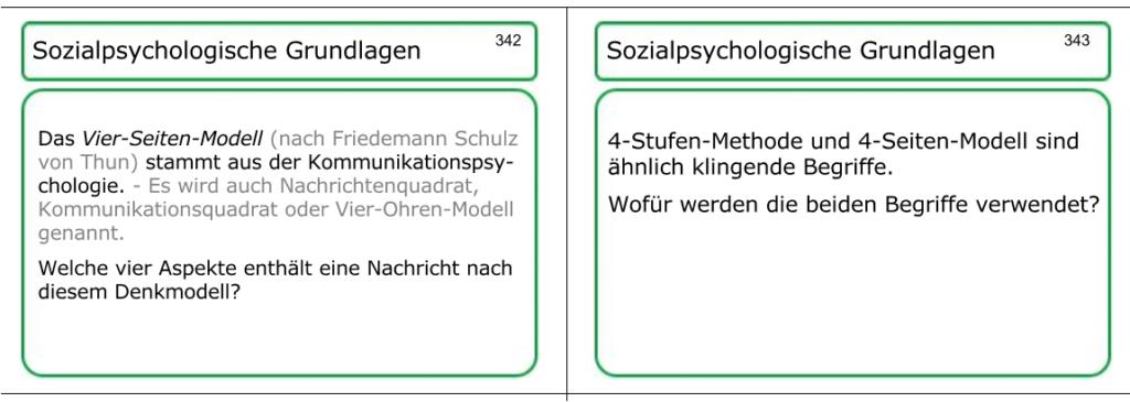 zwei Lernkarten-Muster (Frageseiten) zum Vier-Seiten-Modell und zur 4-Stufen-Methode