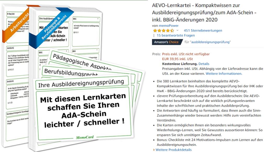 Screenshot vom Produktbild und der Produktbeschreibung auf Amazon