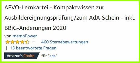 460 Bewertungen zur AEVO-Lernkartei