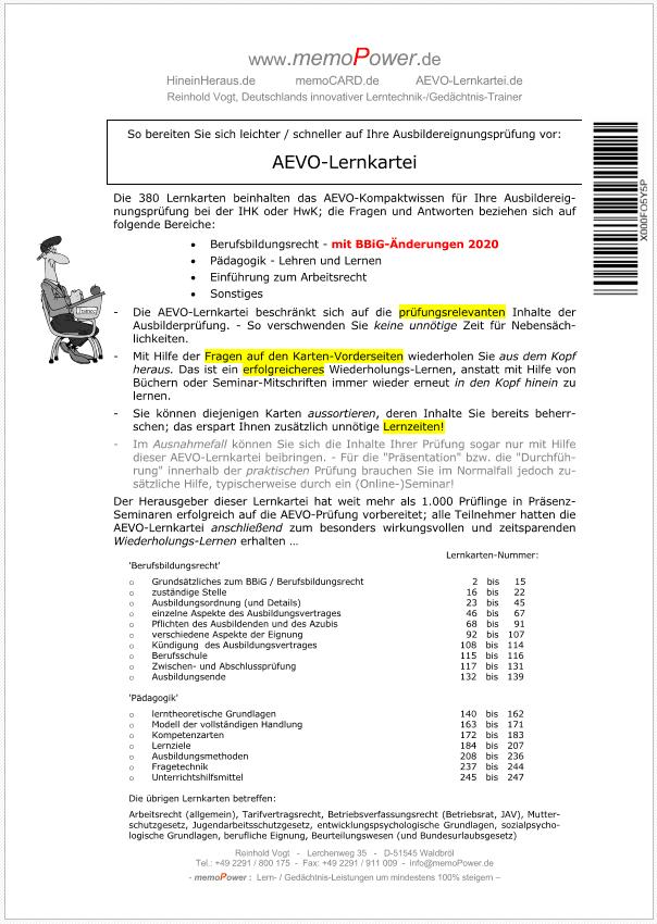Deckblatt zur AEVO-Lernkartei