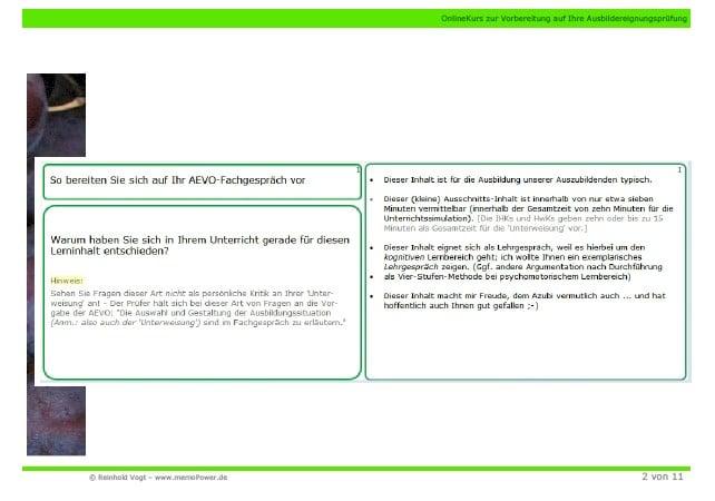 Beispiel einer der 32 AEVO-Prüfungsfragen ... mit Musterlösung (Inhalt meines AEVO-OnlineKurses)
