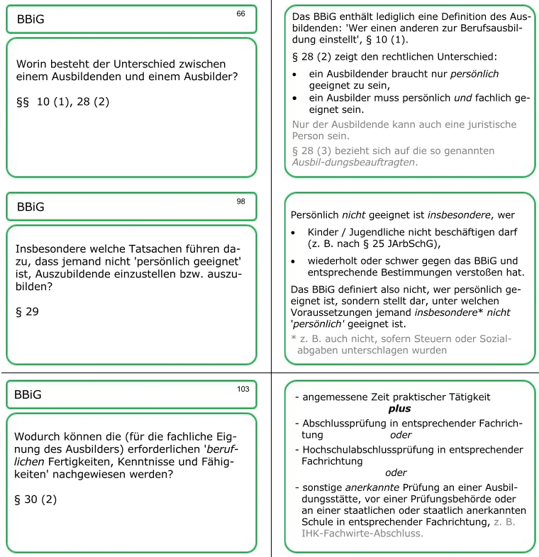 Lernkarten 66, 98, 103