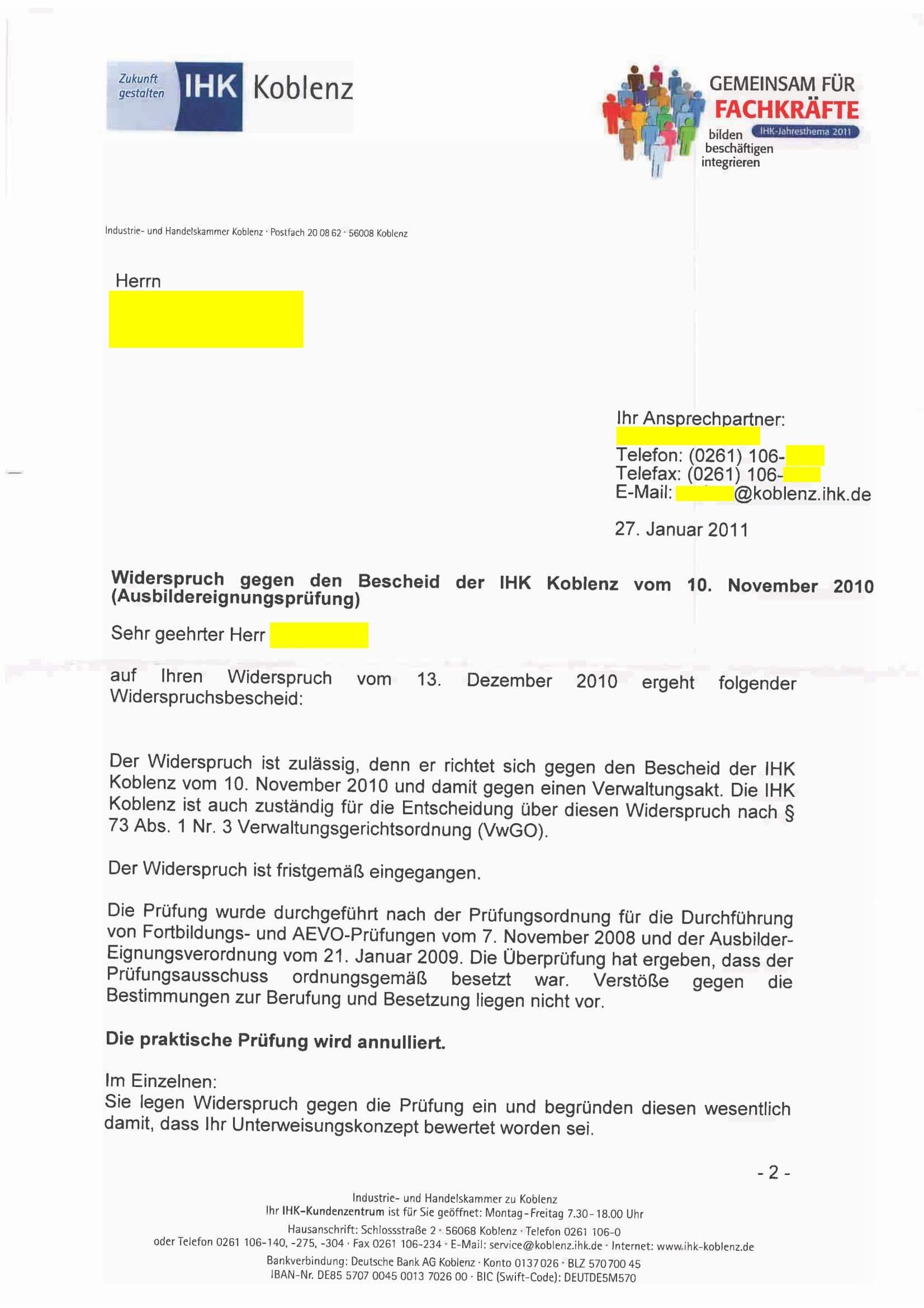 Foto des Briefes der IHK Koblenz nach Widerspruch gegen das Prüfungsergebnis.