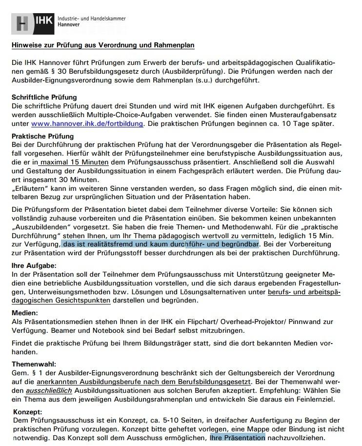 So sehen die Hinweise der IHK Hannover zur AEVO-Prüfung aus (Okt. 2016):