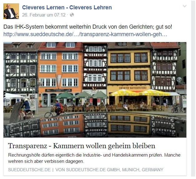 Screenshot von meinem Post auf Facebook