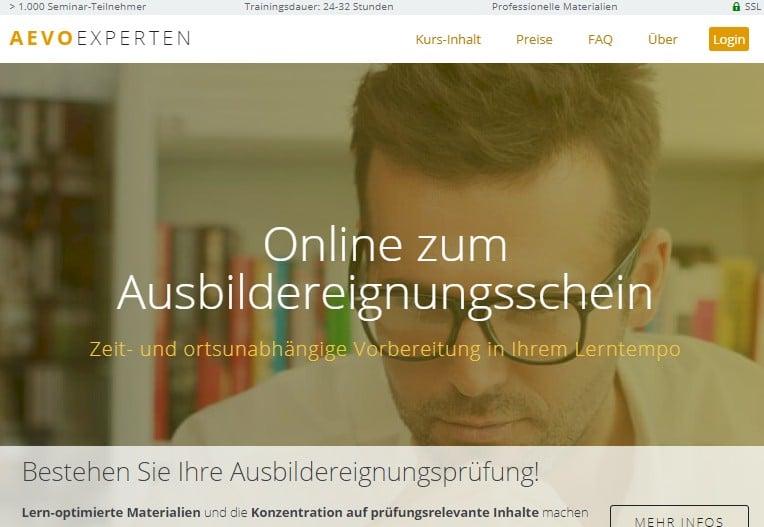 """Zusätzliche Vorteile speziell des """"AEVO-OnlineKurses der AEVO-Experten"""""""