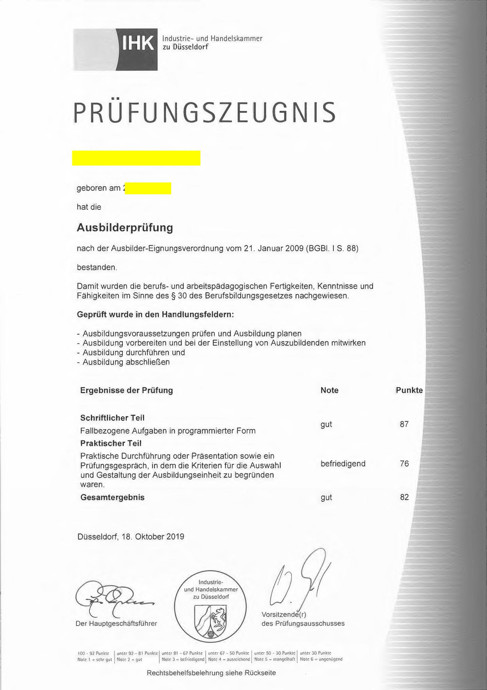 Screenshot eines AdA-Scheins der IHK Düsseldorf mit dem Gesamtergebnis GUT