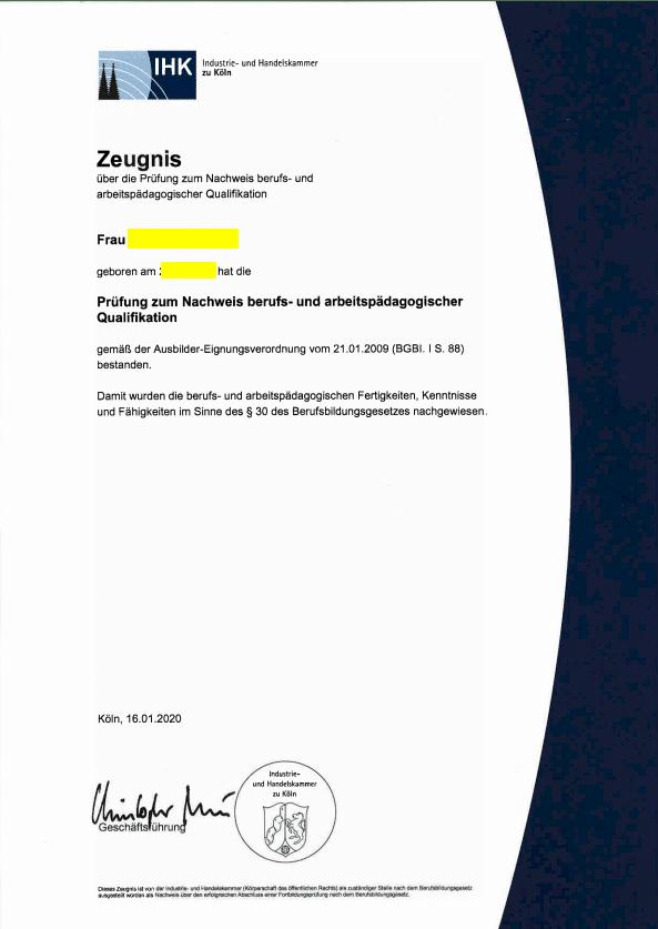AEVO-Prüfungsurkunde - Variante ohne Noten