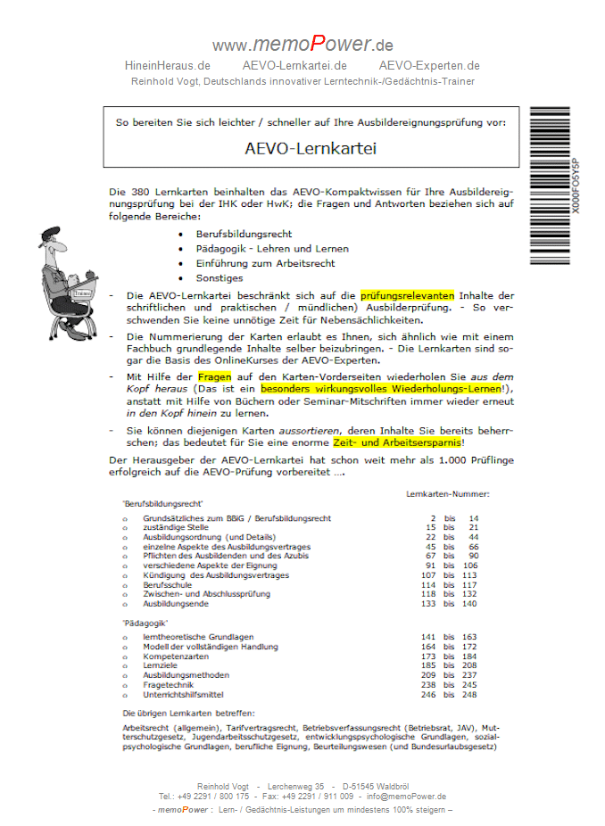 Dieses Deckblatt ist der AEVO-Lernkartei beigelegt: