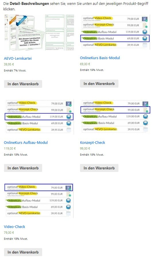 Screenshot: Shopangebote zum AEVO-OnlineKurs
