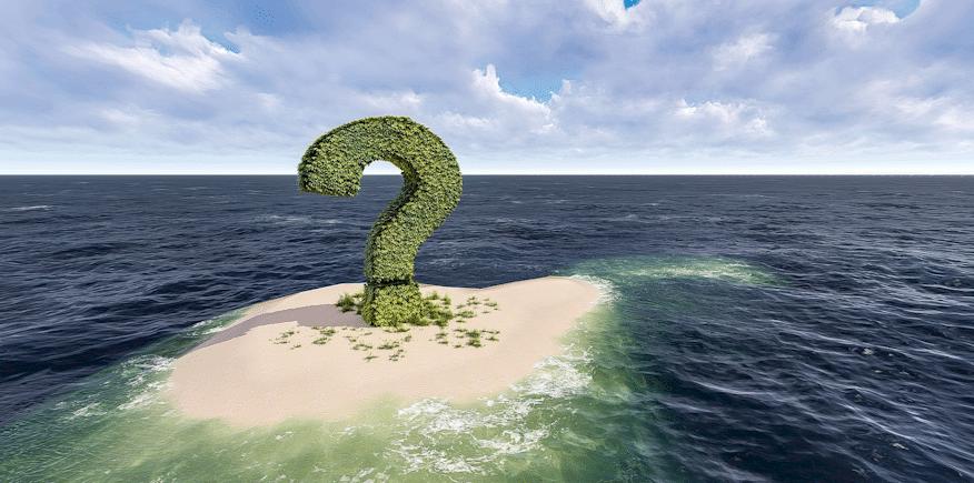 Symbolbild: kleine Sandbank mit einem großen grünen Fragezeichen