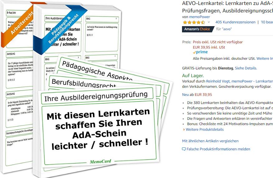 Meine AEVO-Lernkartei hilft Ihnen, den AdA-Schein leichter und schneller zu bekommen.
