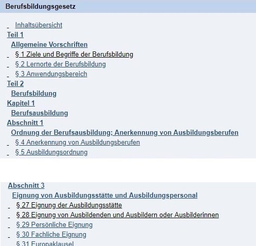 Screenshot vom Inhaltsverzeichnis des Berufsbildungsgeetzes - BBiG
