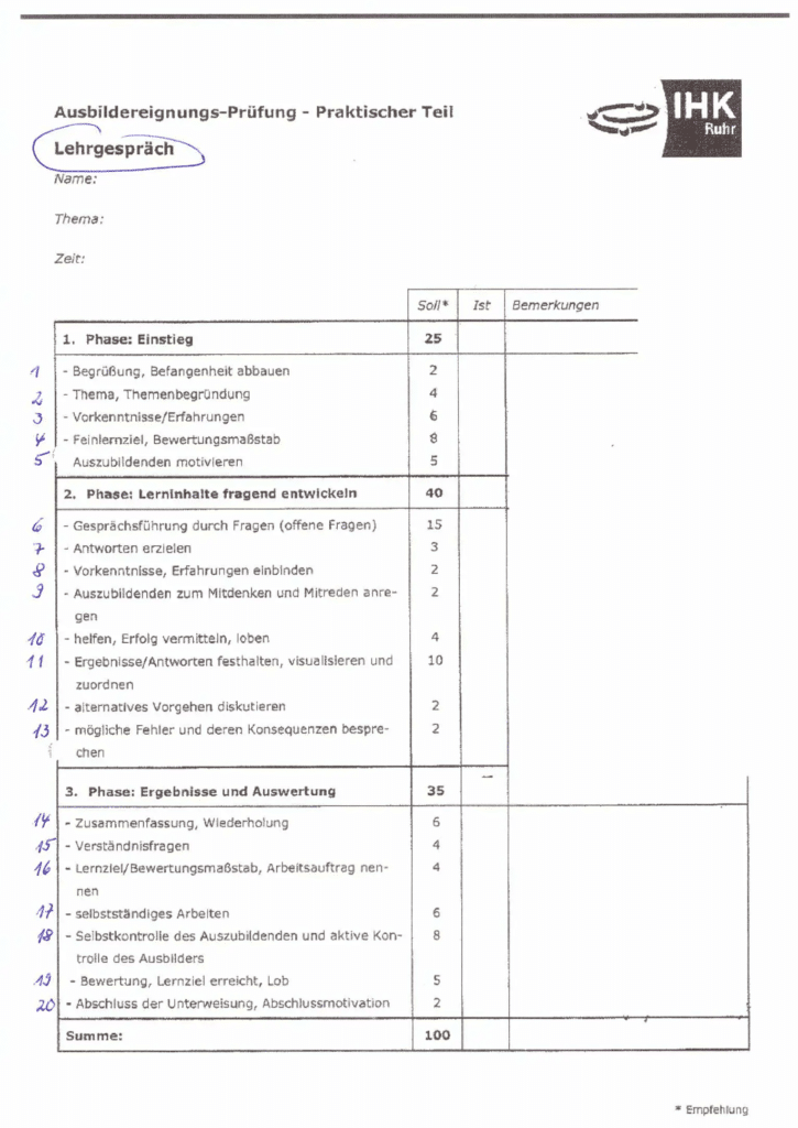 Bewertungsbogen der IHK Essen