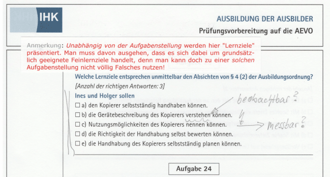 Und das war einmal ein Aufgabenmuster der DIHK Bildungs GmbH: