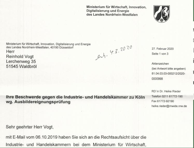 Screenshot von der Antwort des NRW-Ministerium