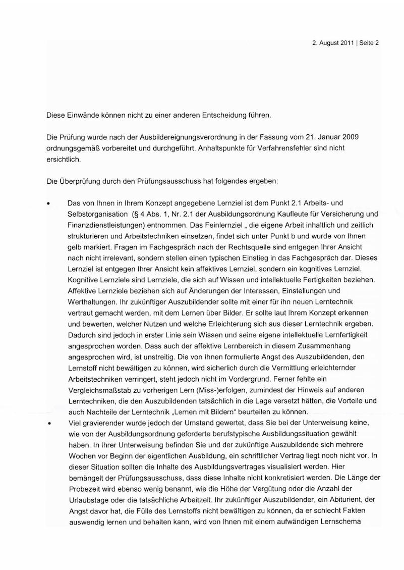 Ablehnungsbescheid der IHK Köln-Gummersbach nach Widerspruch durch den Prüfling, Teil 2