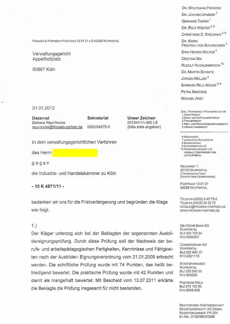 Klagebegründung für das Verwaltungsgericht Köln