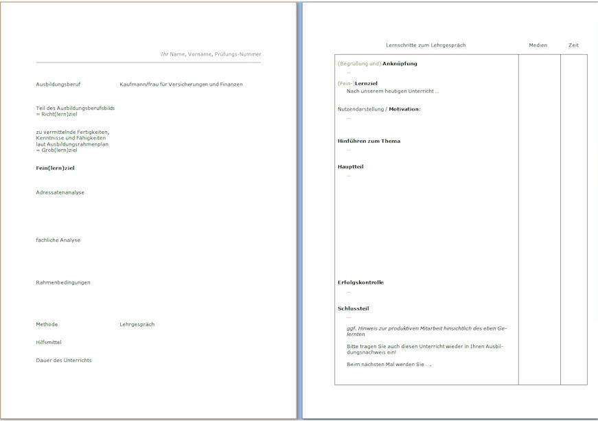links: das Deckblatt - rechts: die sachliche und zeitliche Planung