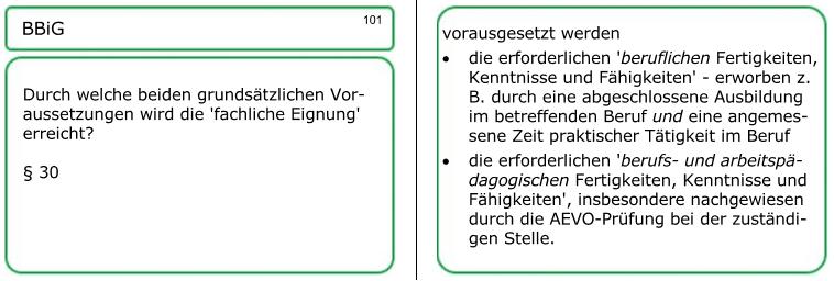 Sehen Sie hier als Beispiel eine der 380 Lernkarten, und zwar zur fachlichen Eignung: