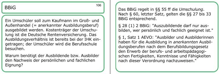 AEVO-Lernkarte Nummer 106 zu Umschulung