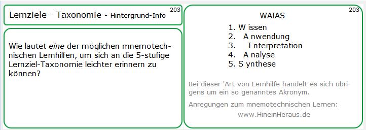 Lernkarte 203 aus der AEVO-Lernkartei