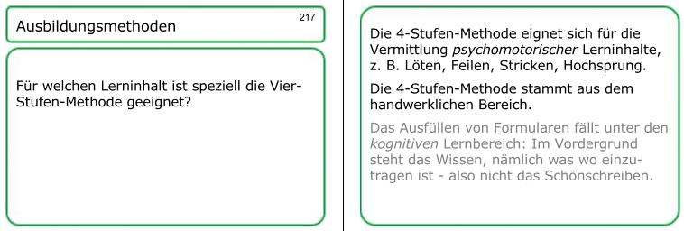 Viele fachliche Details für Ihre AEVO-Prüfung finden Sie innerhalb der AEVO-Lernkartei, zum Beispiel zur 4-Stufen-Methode.