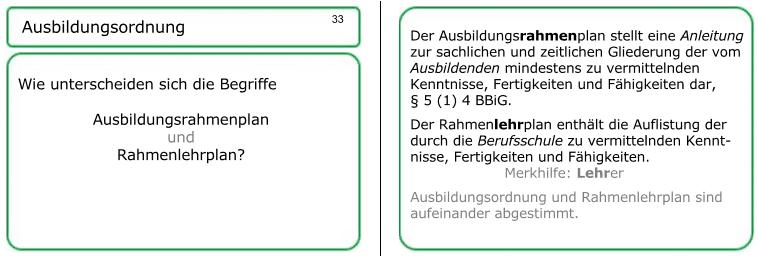 Lernkarte 23: Ausbildungsrahmenplan und Rahmenlehrplan