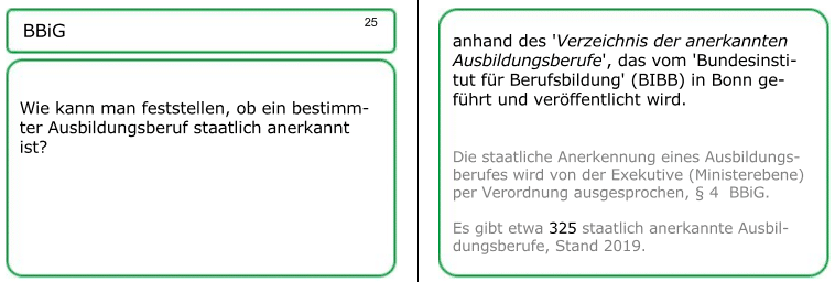 erzeichnis der 327 anerkannten Ausbildungsberufe(Stand: Juni 2018) Muster einer Lernkarte: