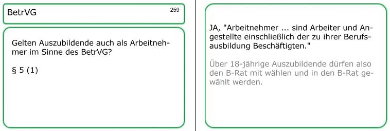 Betriebsverfassungsgesetz (BetrVG), undBetriebsrat (BRat): Muster einer der insgesamt 380 Lernkarten