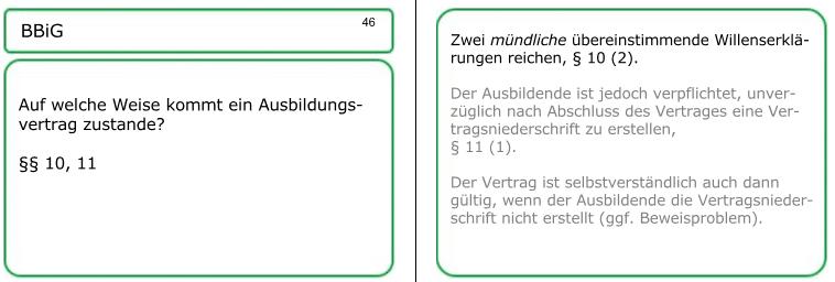 Lernkarte Nummer 46: Muster-Lösungenals Korrekturhilfe für den Lernberater bei der Leittext-Methode