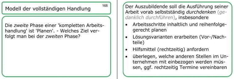 Lernkarten für Ihren AEVO-Schein, zum Beispiel zum 'Modell der vollständigen Handlung'