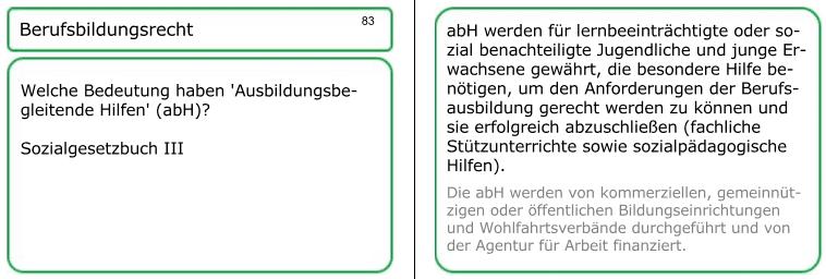 Lernkarte 83: ausbildungsunterstützende / ausbildungsbegleitende Hilfen (abH)