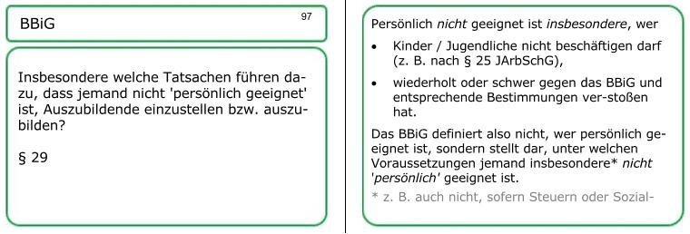 Die Lernkarte 97 der AEVO-Lernkartei behandelt die persönliche Eignung.