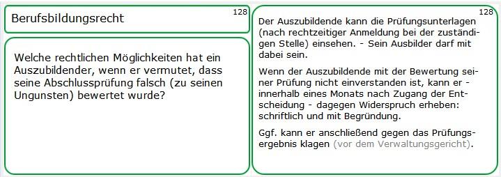 Eine weitere Lernkartei aus der AEVO-Lernkartei: Die Widerspruchs-Möglichkeit eines Azubis gegen sein Prüfungsergebnis könnte eine der möglichen Prüfungsfragen innerhalb der schriftlichen Ausbildereignungsprüfung sein!