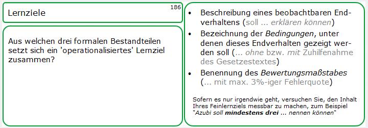 Lernkarte 186 zum Thema 'Lernziele'