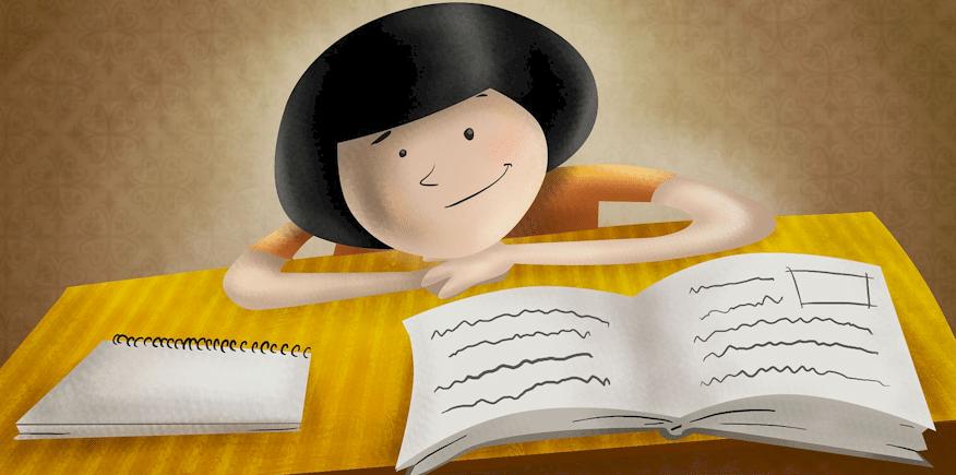 Karikatur: großer Kopf liegt auf der Tischplatte zusammen mit einem Buch und handschriftlichen Aufzeichnungen