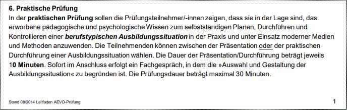 Auszug aus dem Leitfaden der IHK Köln: